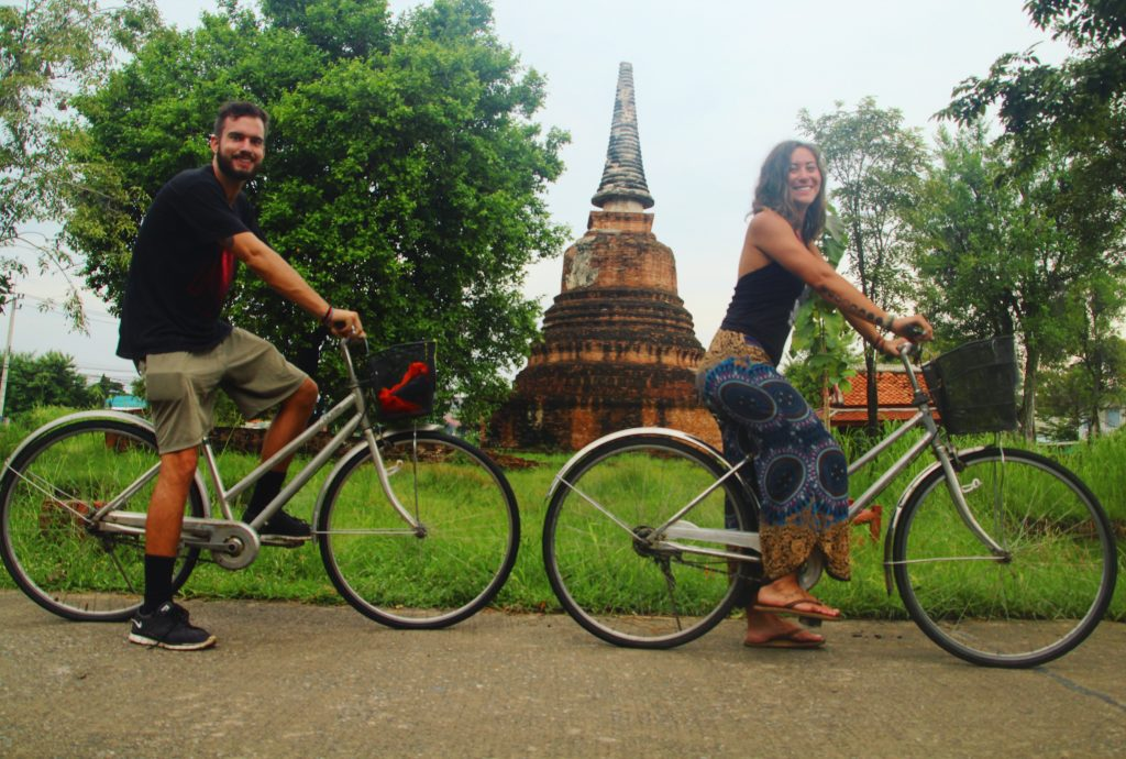 riding bikes in ayutthaya thailand