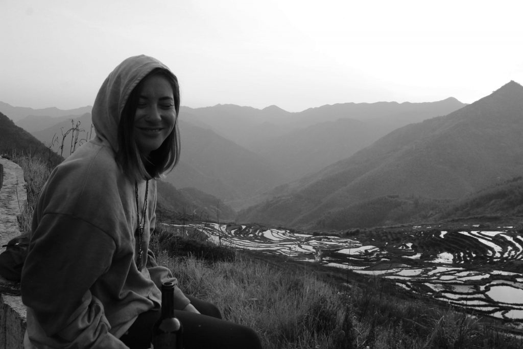 enjoying the view at the lianhe terraces fujian