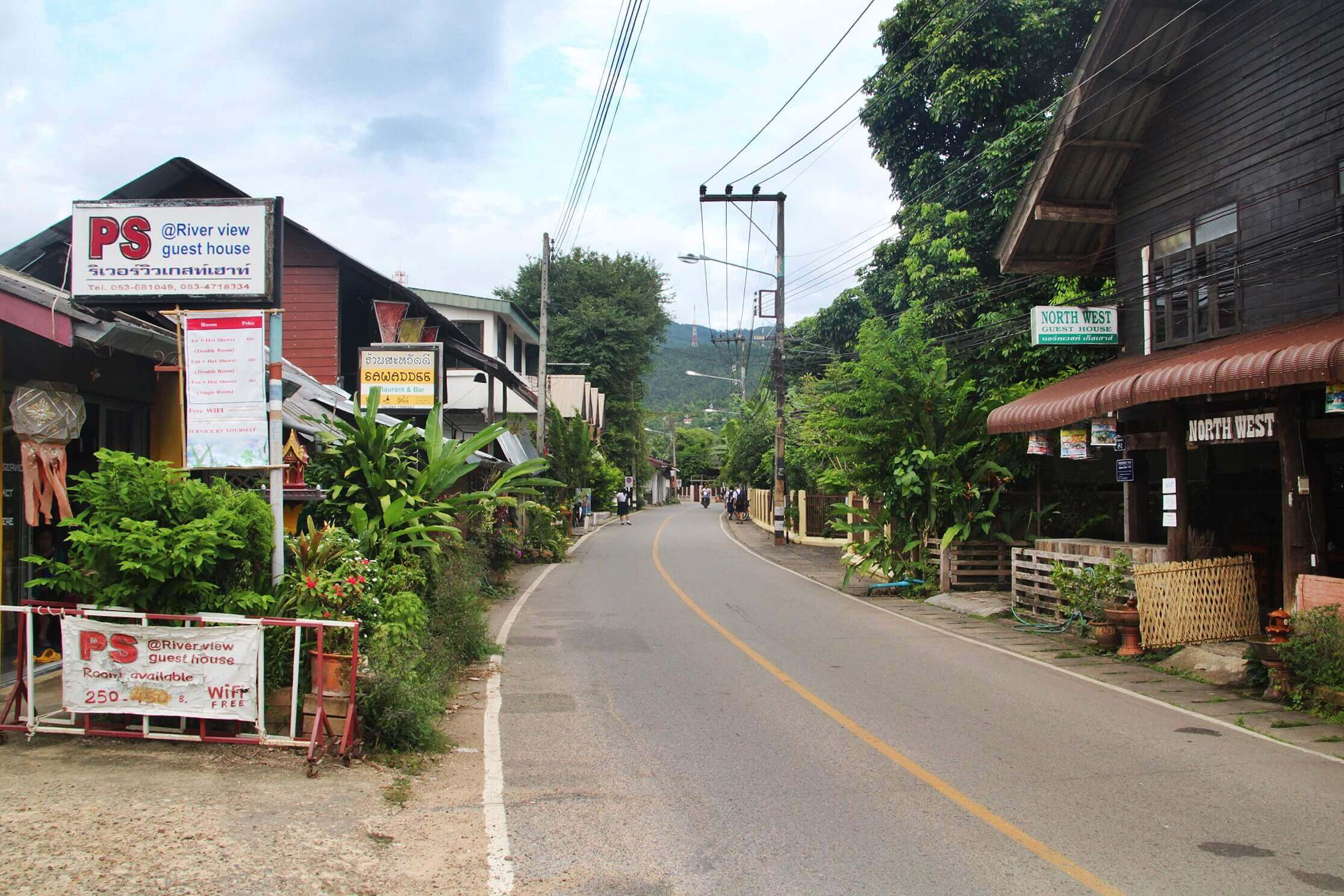 row of guesthouses in mae sariang