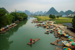 cycling in yangshuo dragon bridge